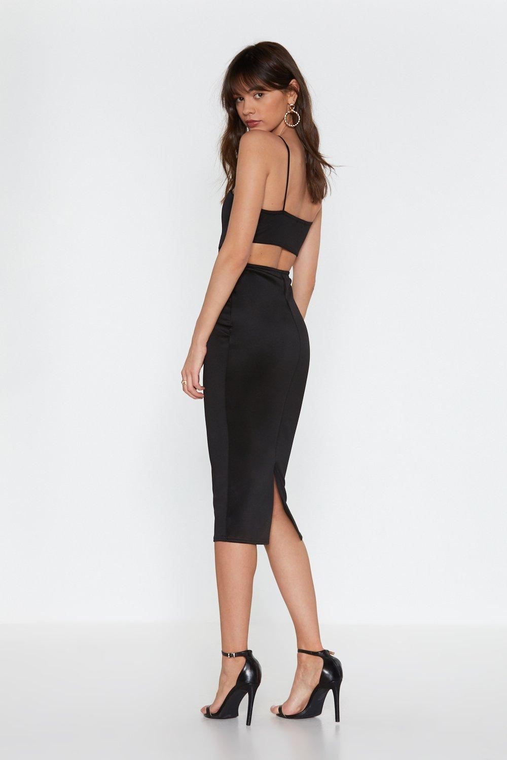 34f47a24a01 Womens Black Back in the Game Cut-Out Bodycon Midi Dress