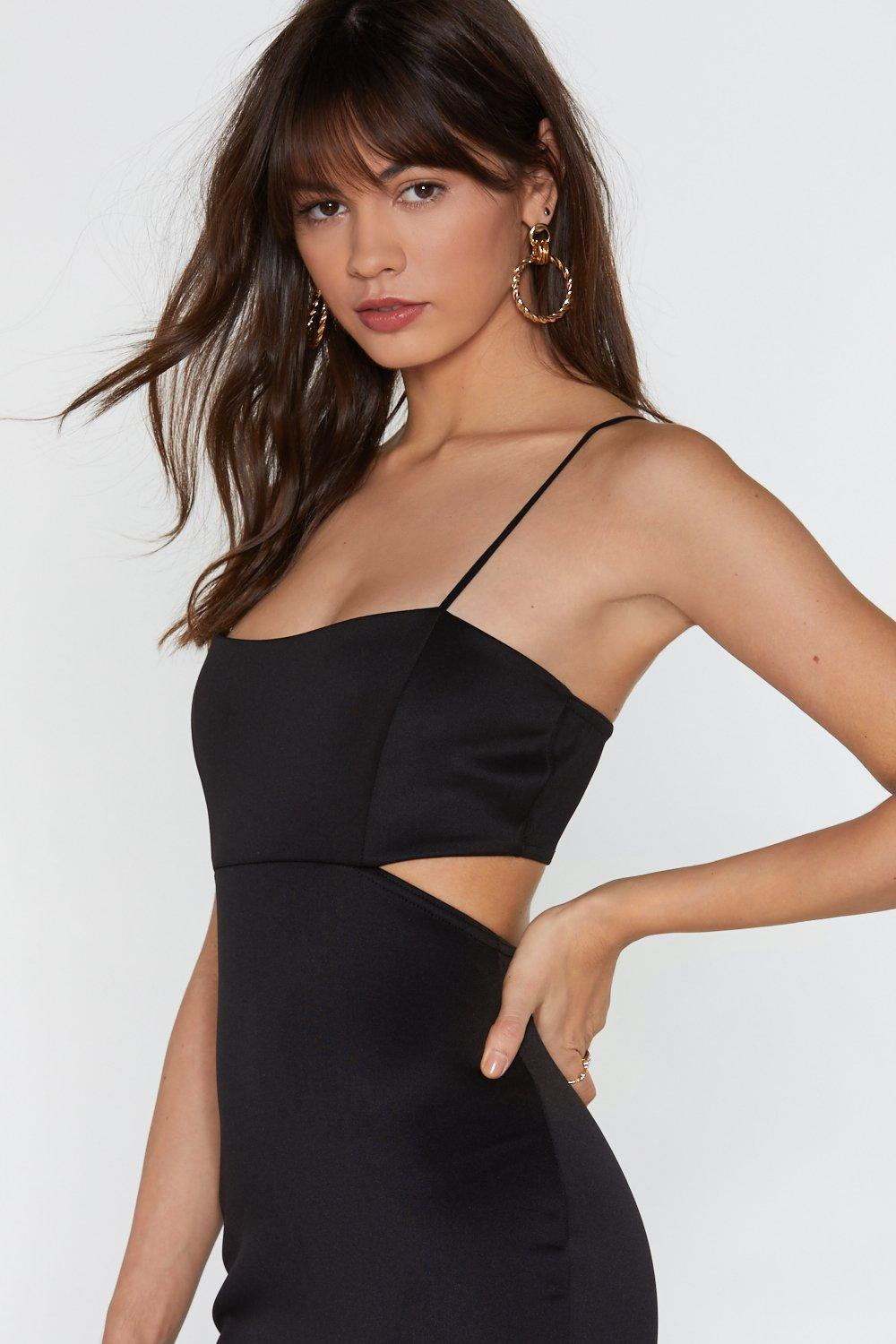 f3eb4844d25 Womens Black Back in the Game Cut-Out Bodycon Midi Dress.