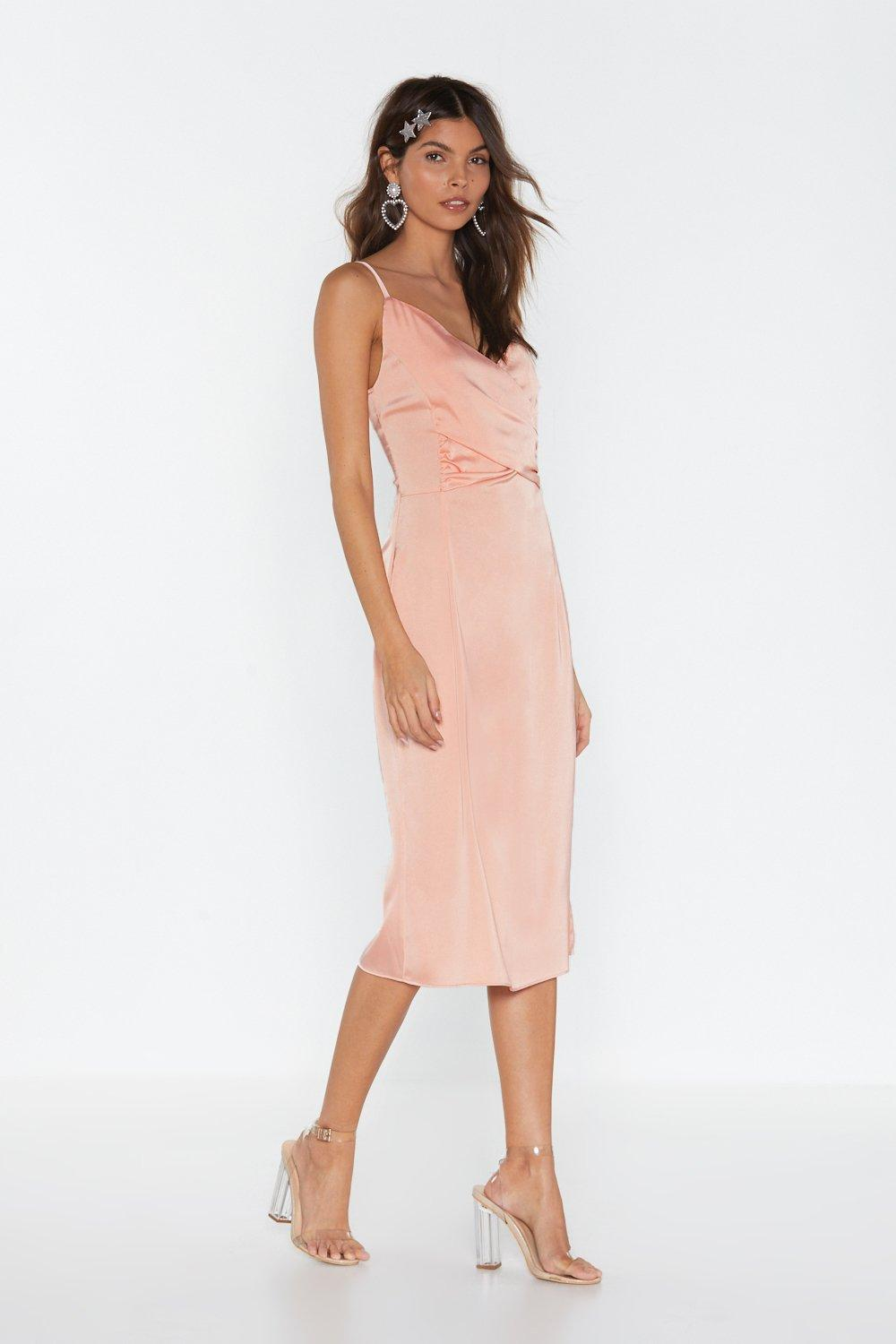 6bc7eaf630d Womens Blush Satin Strappy Wrap Detail Dress. Hover to zoom