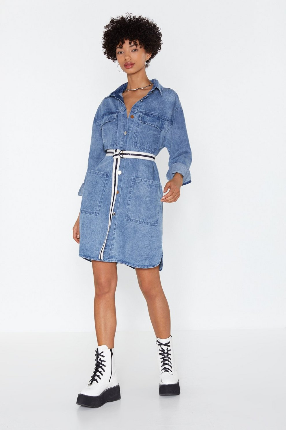 caab21fbf21 It s Over-sized Denim Shirt Dress. Hover to zoom