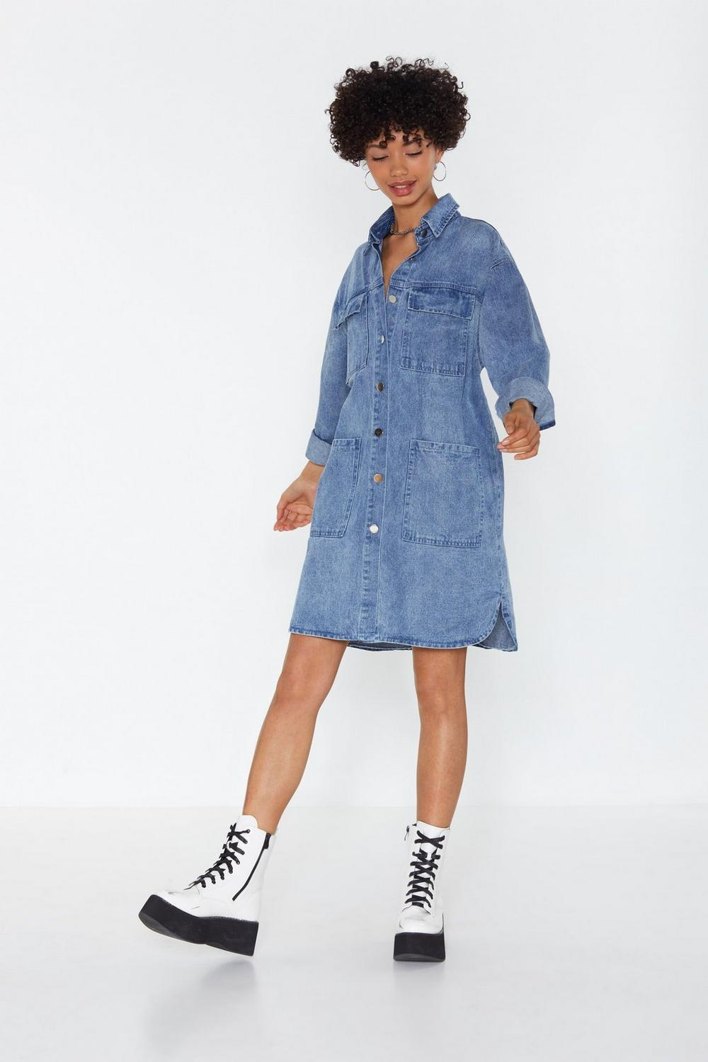 0b8502cbcf9 It s Over-sized Denim Shirt Dress. Hover to zoom