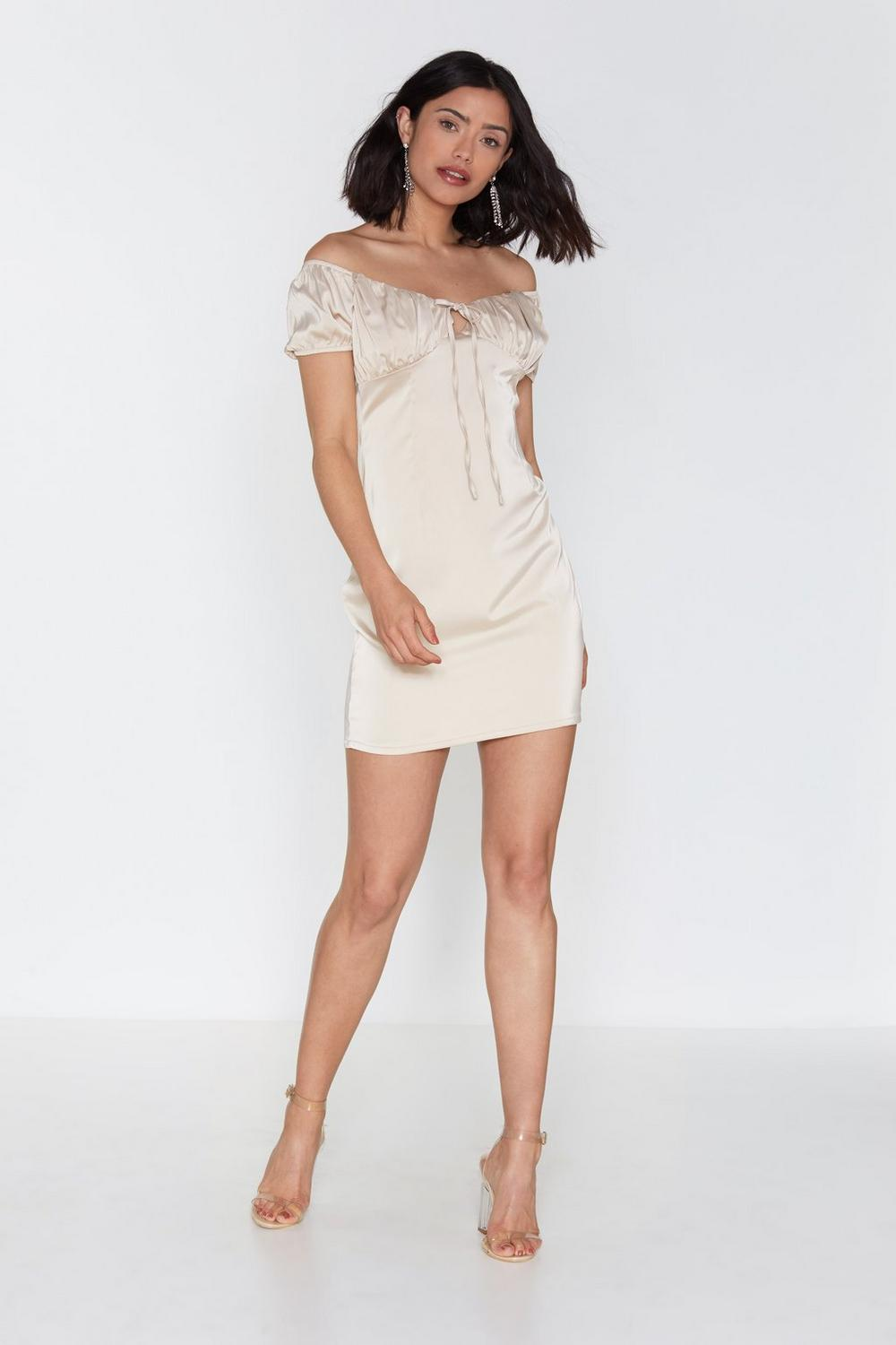 ca90e8755f7 Womens Oyster Busted Satin Off-the-Shoulder Dress.