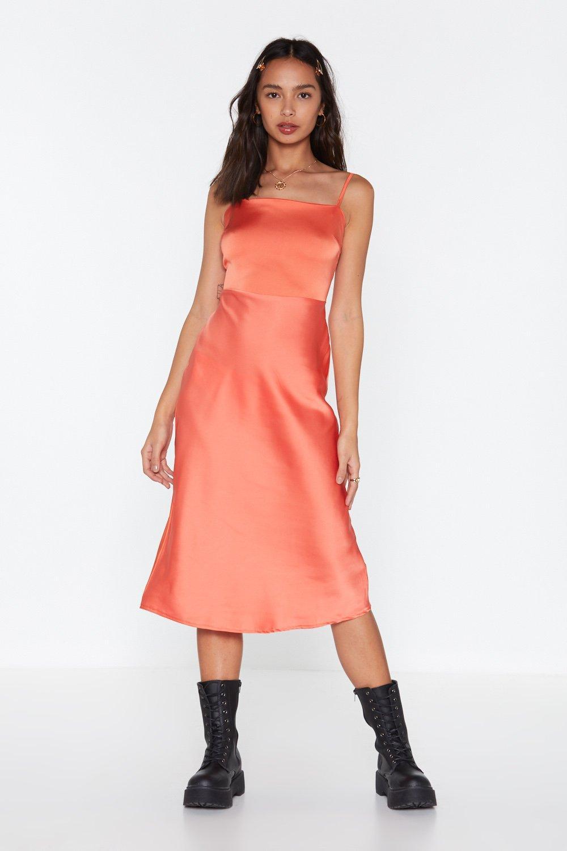 58ebee6e267c Be My Baby Satin Midi Dress