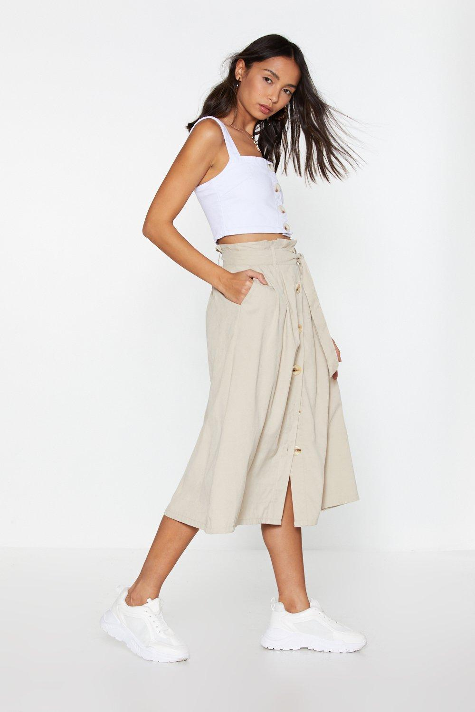 eaa96675c5 7 For All Mankind Button Front Denim Midi Skirt | Saddha