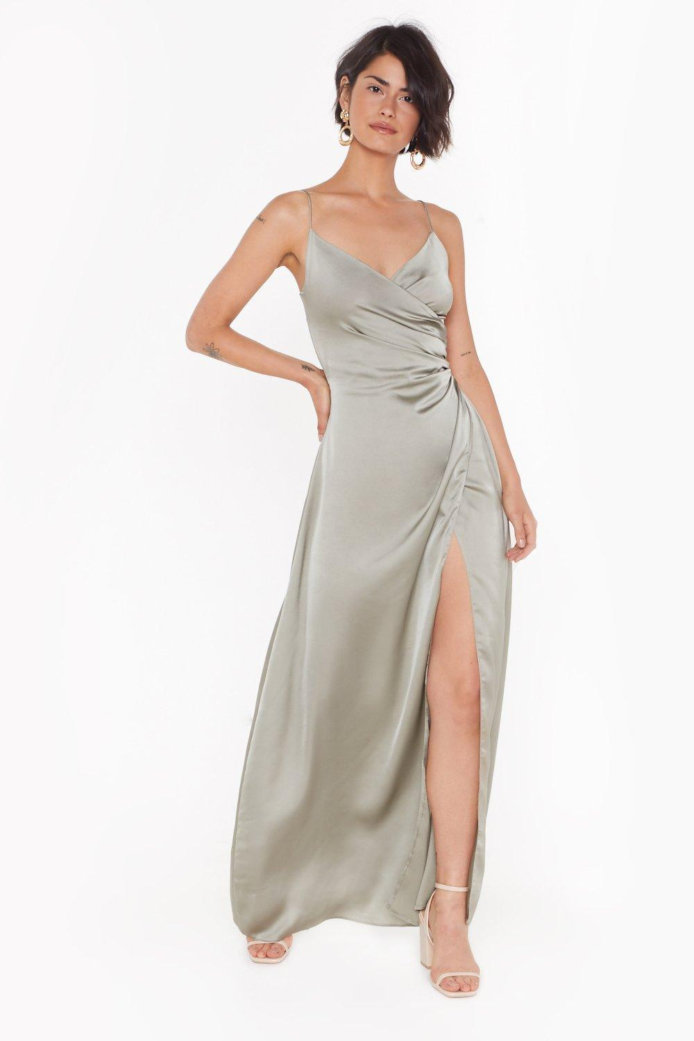 3bcdc3eea4f Womens Sage Right Bride Your Side Satin Maxi Dress