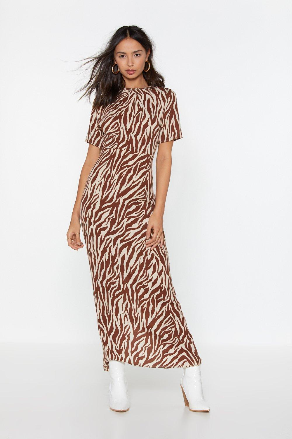 a9e66109c1 Womens Brown Wild Night Zebra Maxi Dress