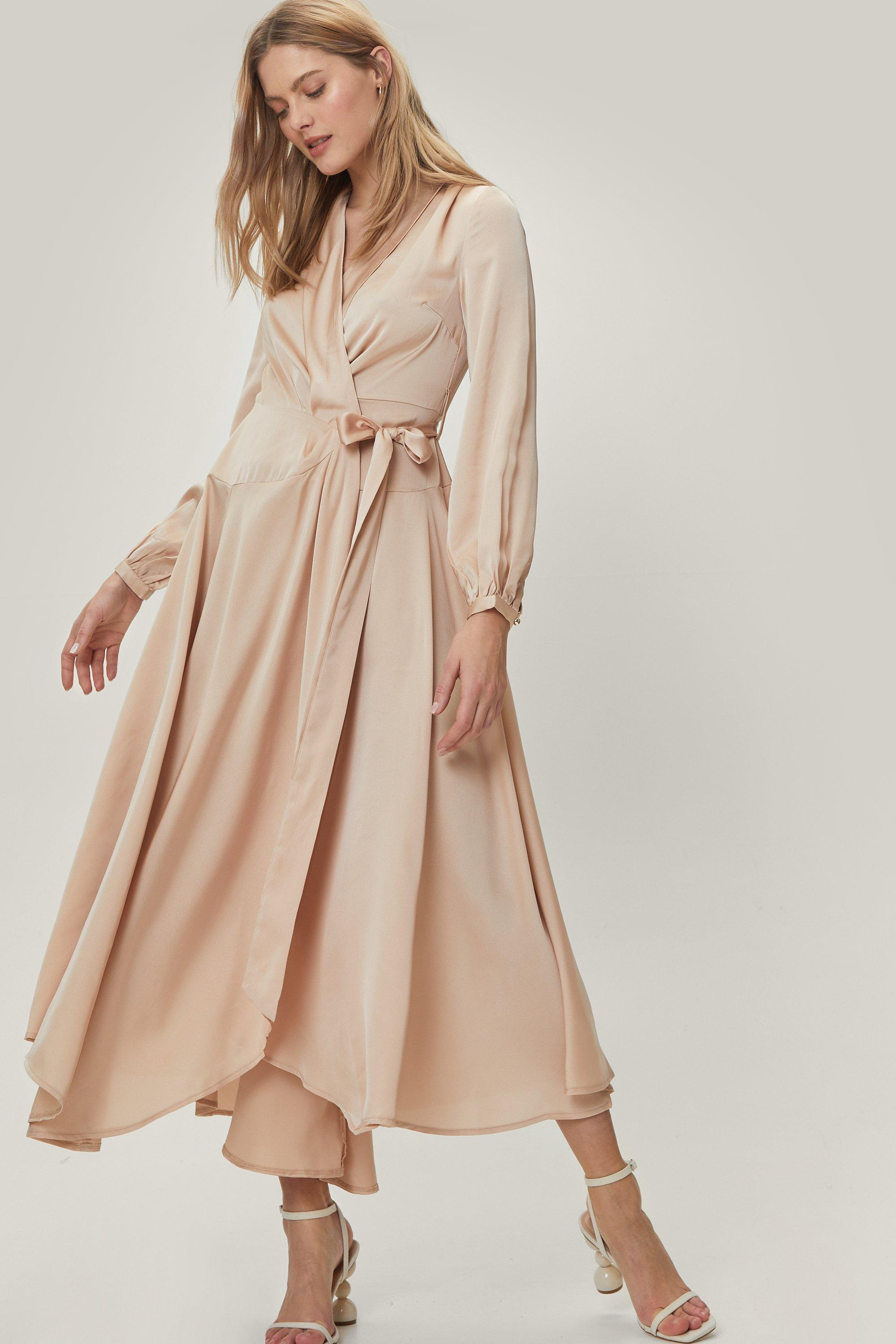70s Prom, Formal, Evening, Party Dresses Womens Satin Long Sleeve Belted Maxi Wrap Dress - Champagne - 12 $37.60 AT vintagedancer.com