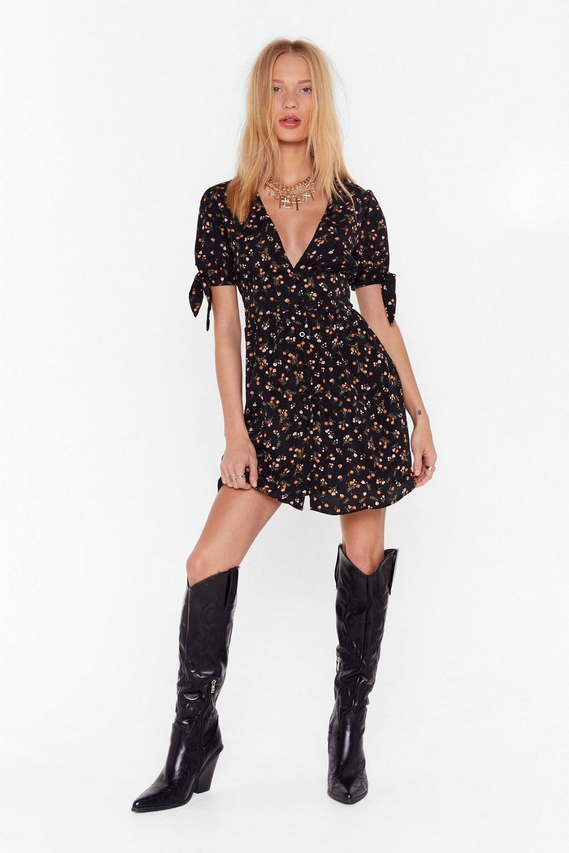 ab40c8014da Womens Black What s the Tea Floral Button-Down Dress