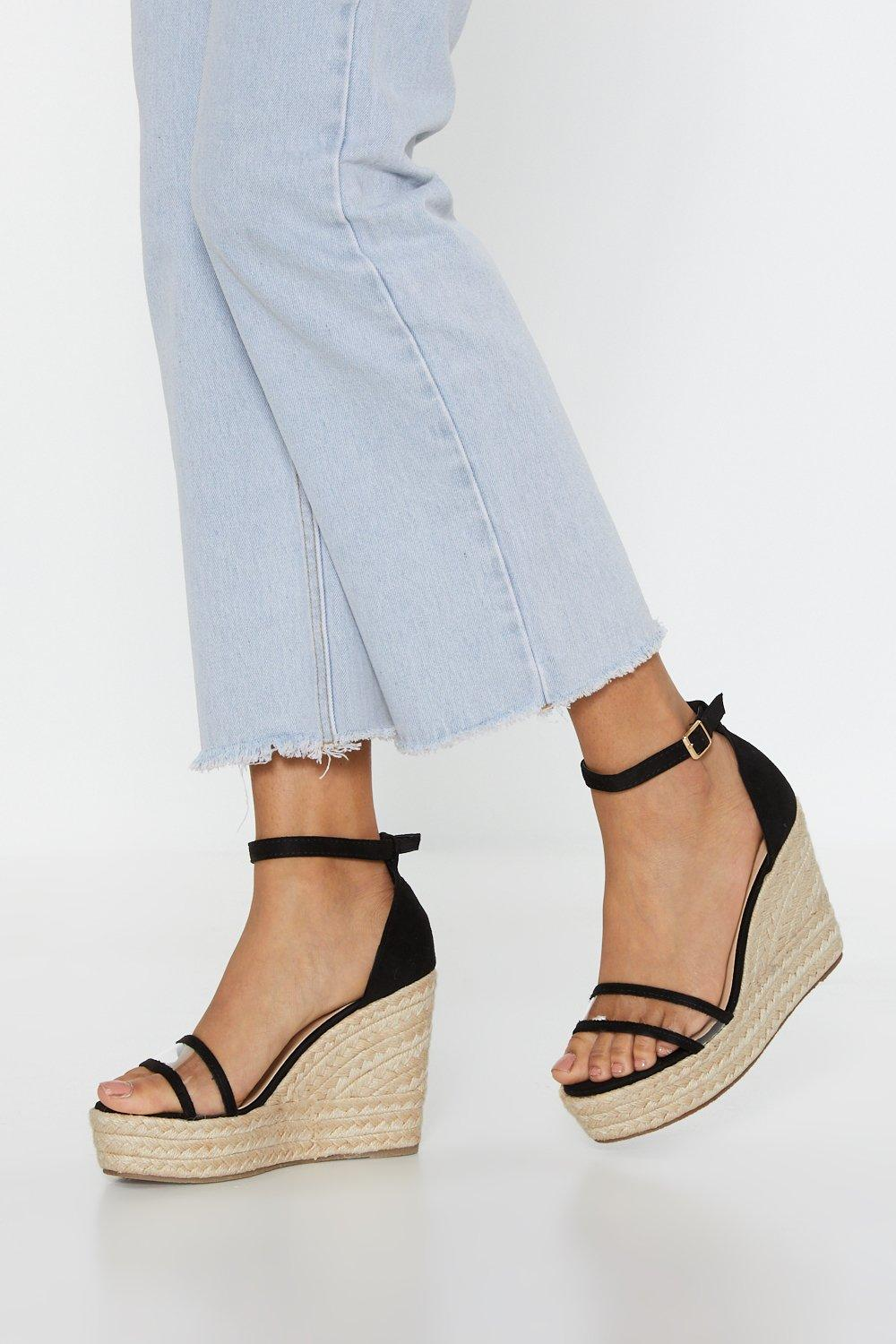 Give It Up Perspex Espadrille Wedges