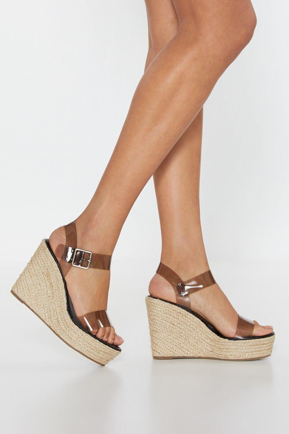 In the Open Perspex Woven Wedges