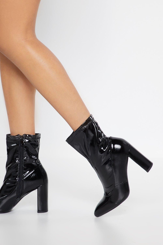 Patent Block Heel Sock Boot by Nasty Gal