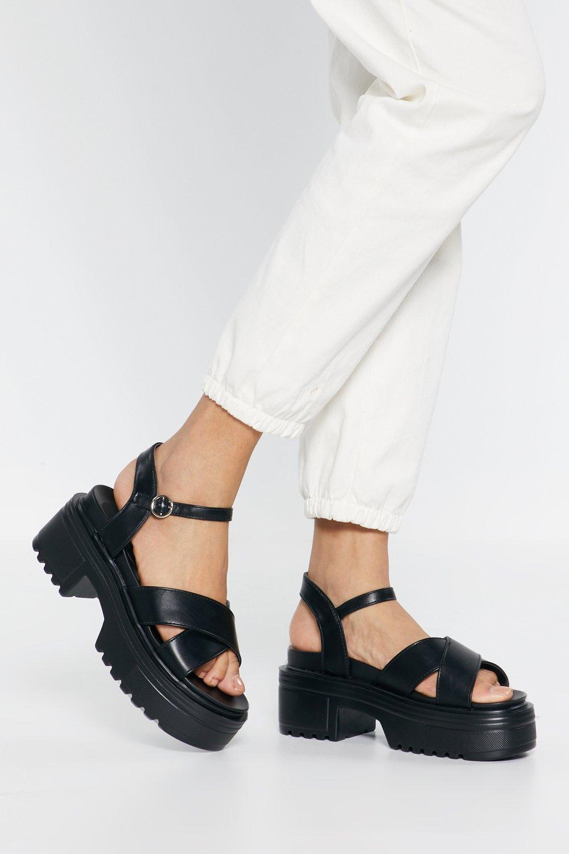 Womens Black Watch Your Step Faux Leather Platform Sandals