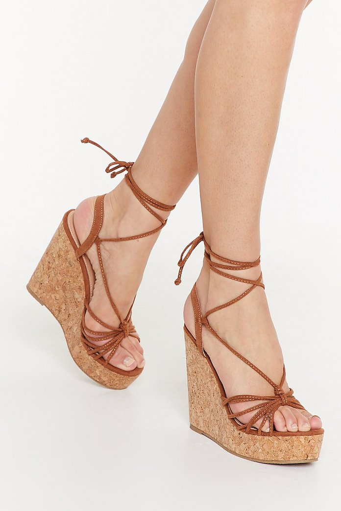 Let's Cork About Love Lace Up Wedge Sandals | Nasty Gal