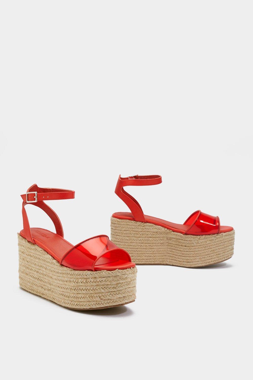 76891654ac1347 Chaussures à plateformes et talon compensé transparentes, Orange, Femme
