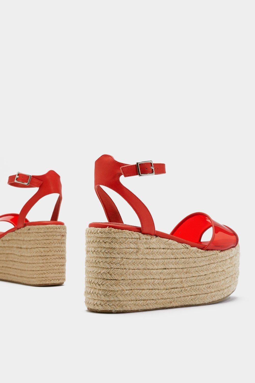 4f59b370d5573f Chaussures à plateformes et talon compensé transparentes, Orange, Femme.