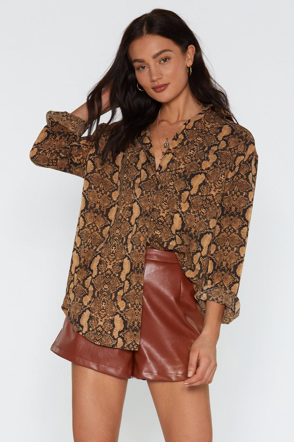 We Built Hiss City Snake Oversized Shirt by Nasty Gal