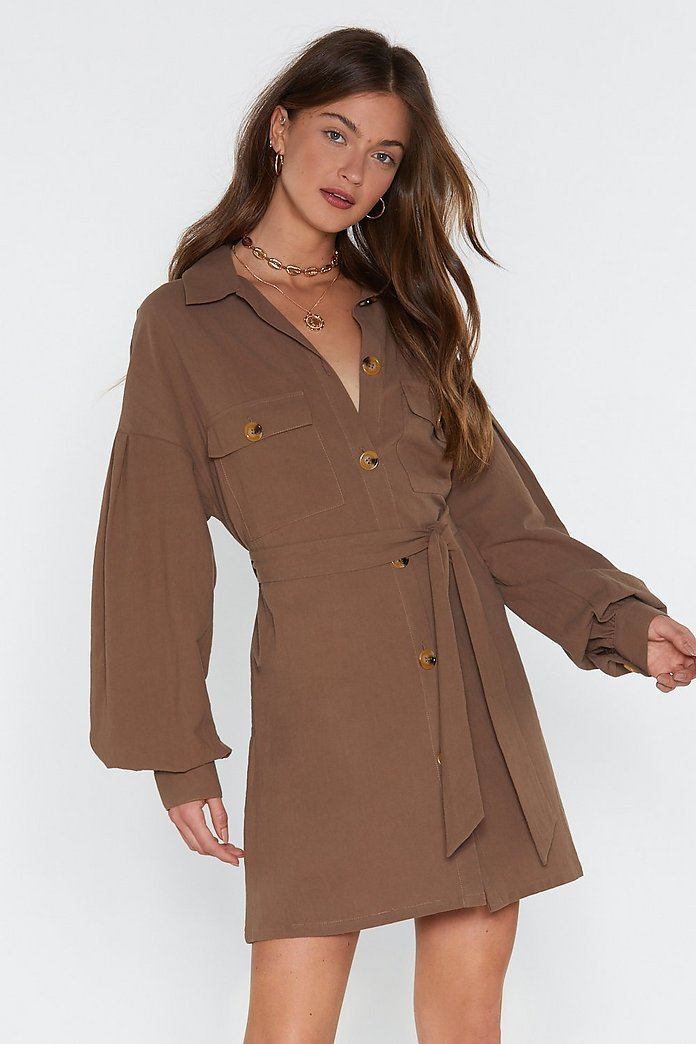 Get Button With It Linen Shirt Dress | Nasty Gal