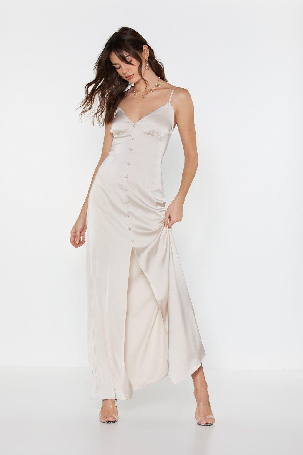 White Satin Maxi Dress