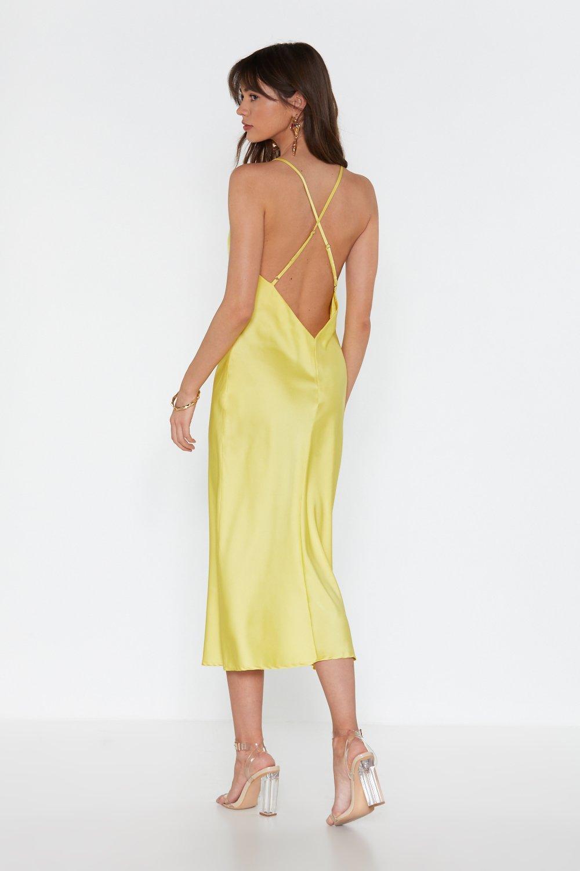 140a3f120c3 Womens Lime Sleek Revenge Satin Midi Dress