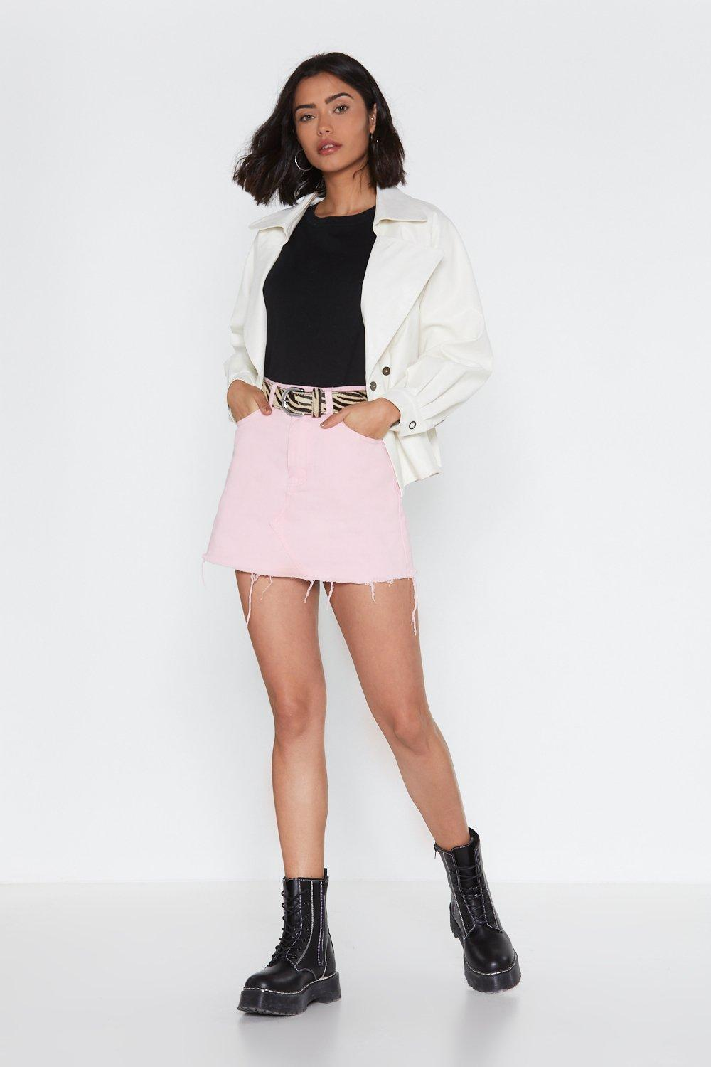 With You In A Mini Denim Skirt by Nasty Gal