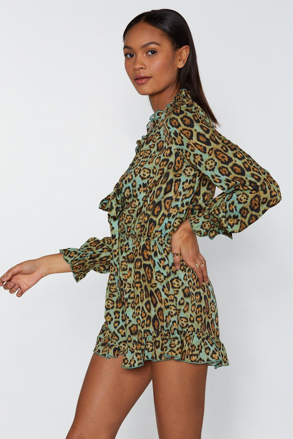 52fde860f8 Prowling Around Leopard Ruffle Playsuit. Hover to zoom