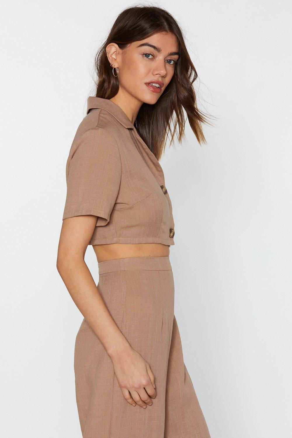 ff46dfc288 In It to Linen It Cropped Shirt | Shop Clothes at Nasty Gal!