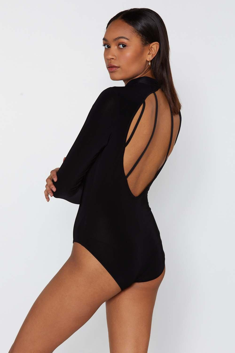 645ca7bb4b High Neck of the Woods Strappy Bodysuit. Hover to zoom