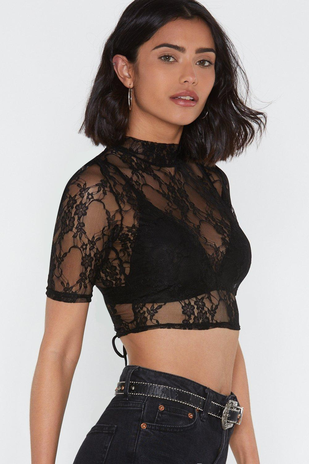 18e8b5a714db91 Come to My P-lace High Neck Crop Top