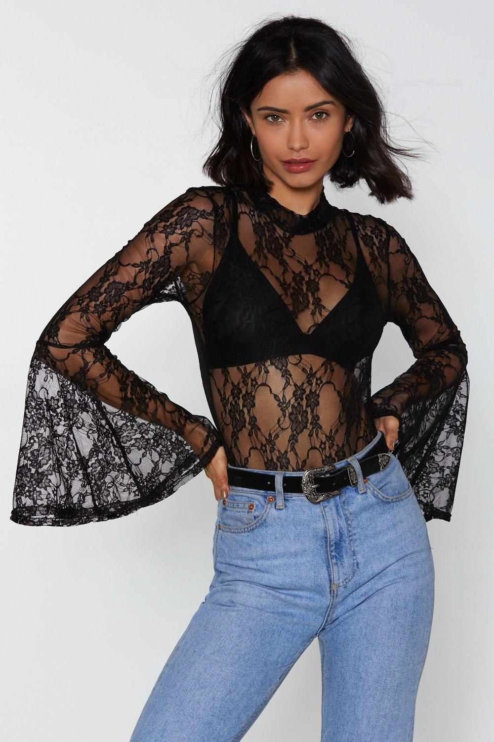0eaed022967b2 Lace Get Together Bell Sleeve Bodysuit