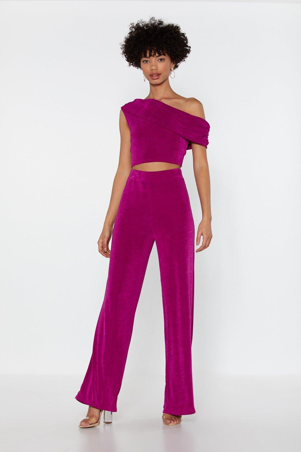 fe3bcb6e524772 Here For You One Shoulder Top and Pants Set