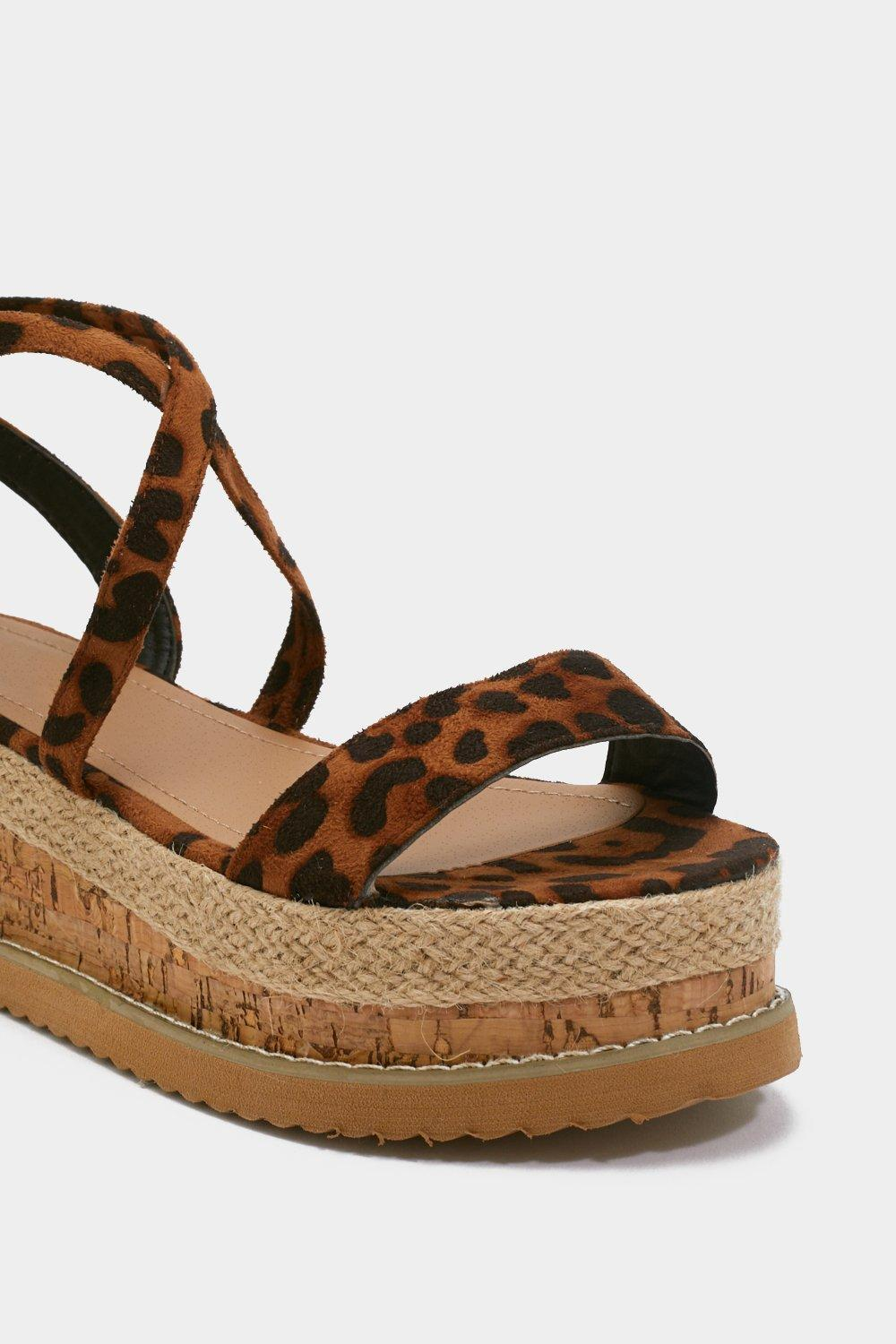 f995b2d82 Womens Brown Enough With the Cork Leopard Platform Sandals.