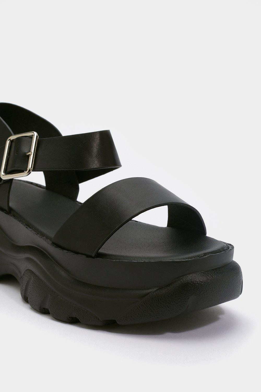 Womens Black Strappy and You Know It Chunky Platform Sandals.