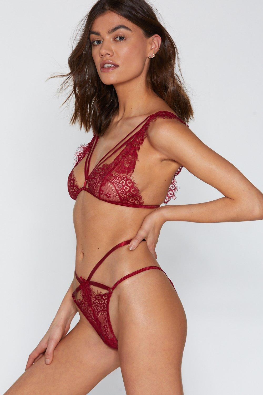 ad3ca090103 Burning Up Strappy Lace Bralette and Panty Set. Hover to zoom