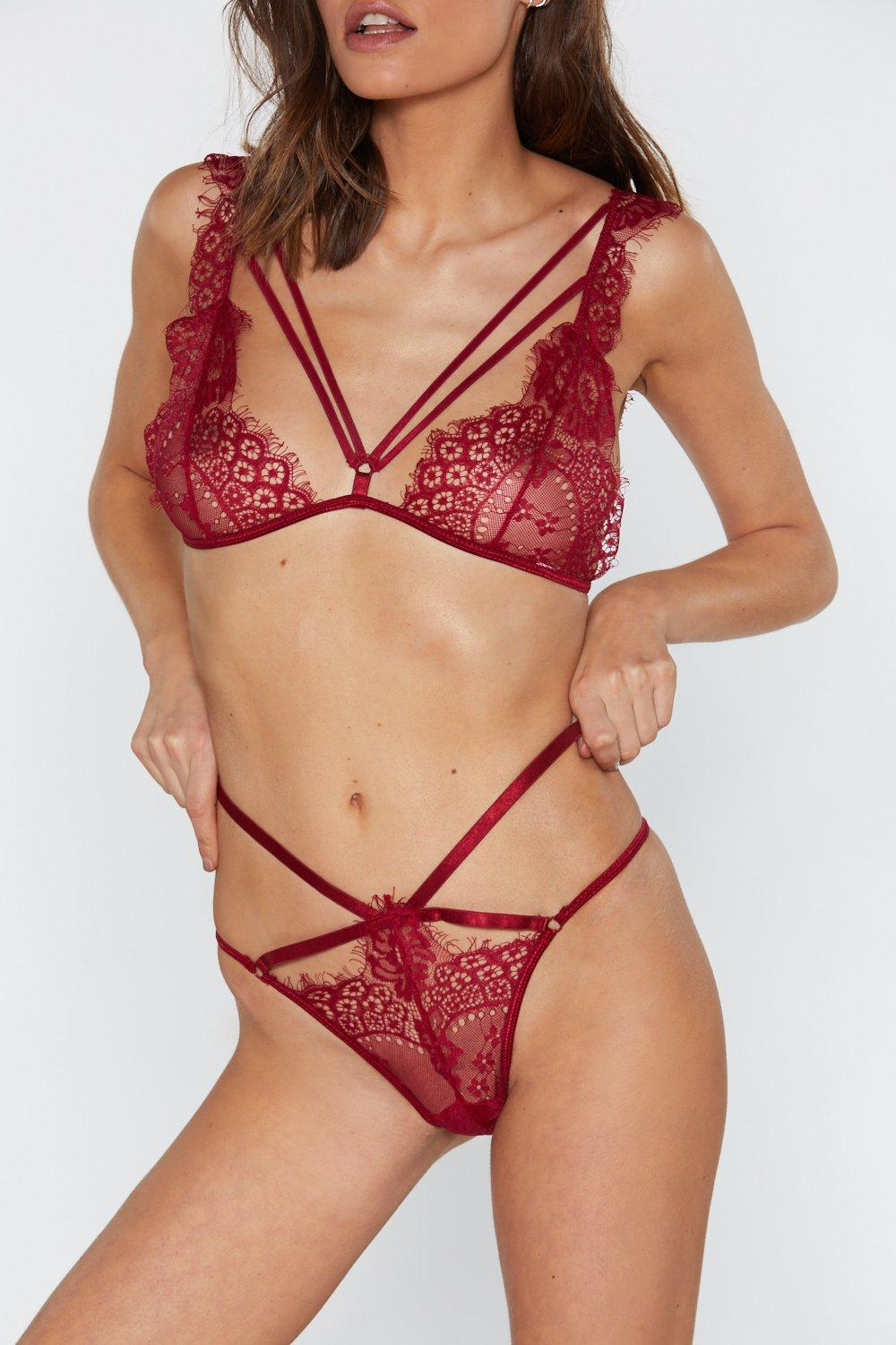 e99238b253 Burning Up Strappy Lace Bralette and Panty Set