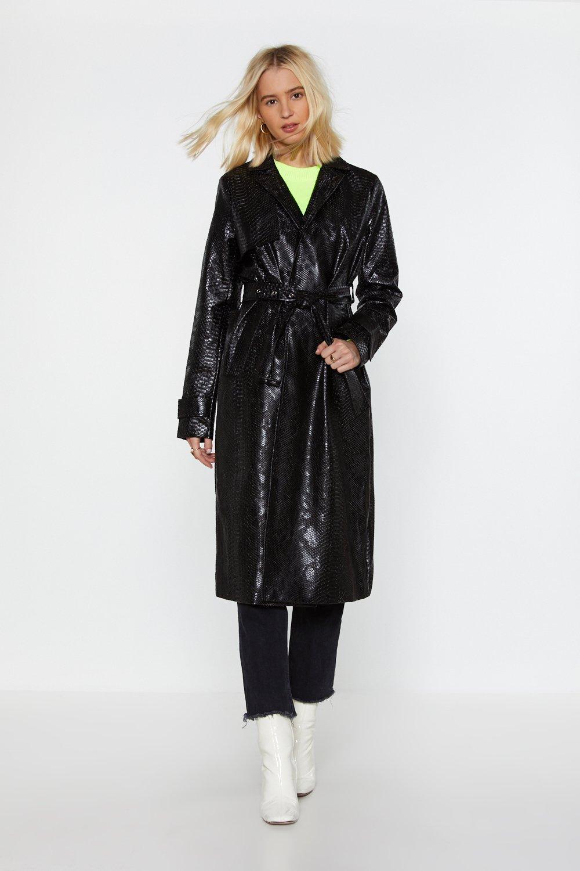 673cf98fb26a9 Croc 'Em Dead Faux Leather Trench Coat   Shop Clothes at Nasty Gal!