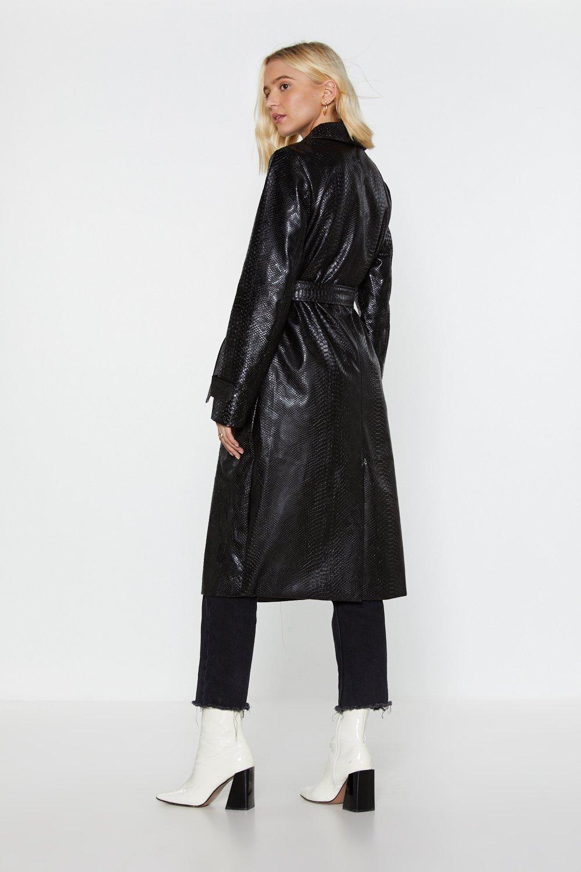 29d7f2d5dab8 Croc  Em Dead Faux Leather Trench Coat
