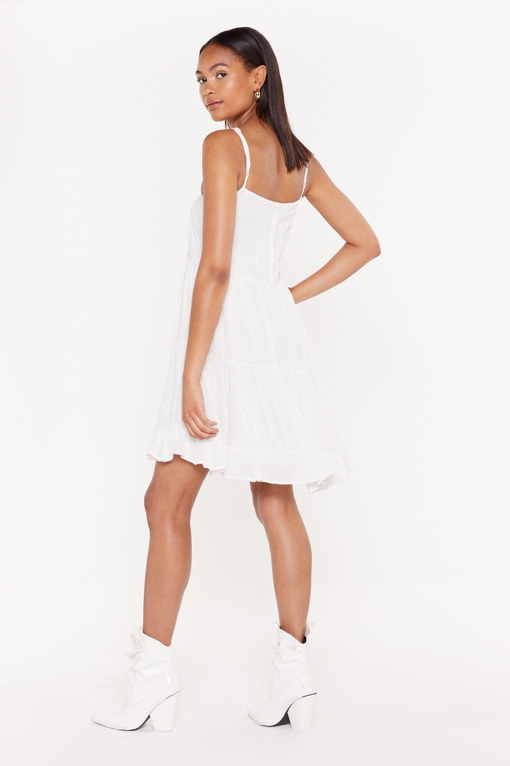 064bab22bb Womens Cream Give It a Twirl Tiered Cheesecloth Dress