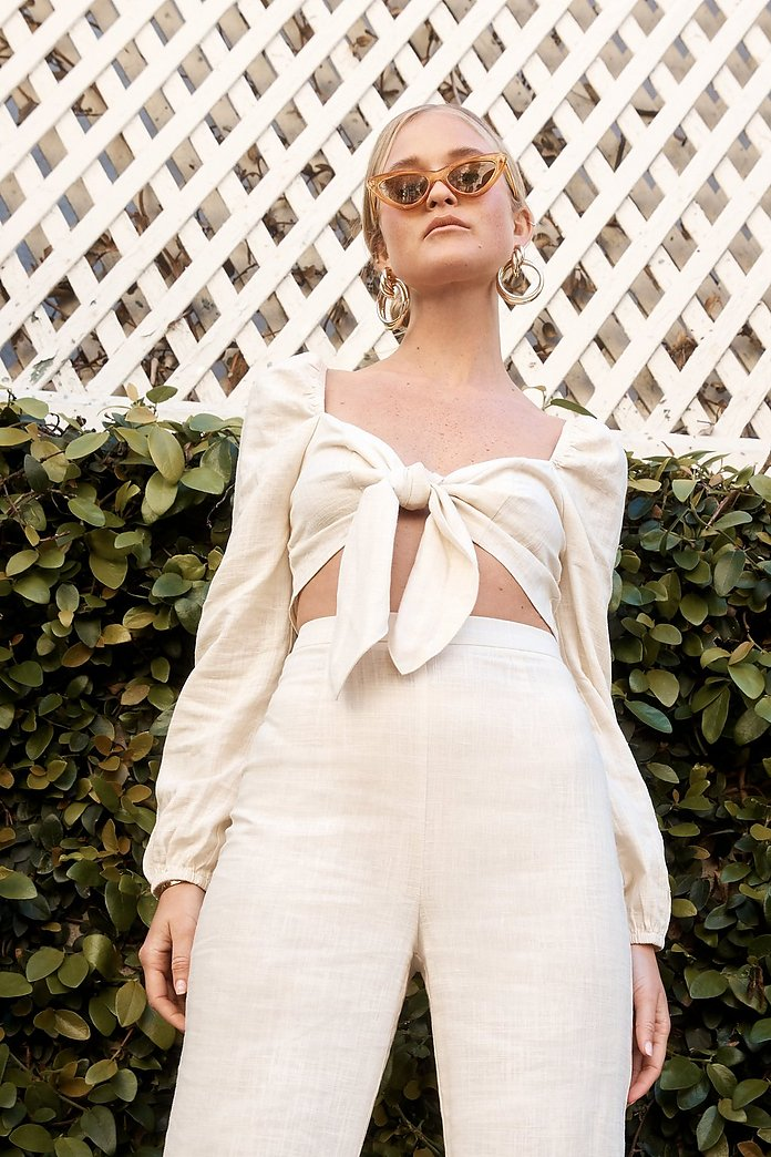 Heads You Linen Tie Crop Top by Nasty Gal