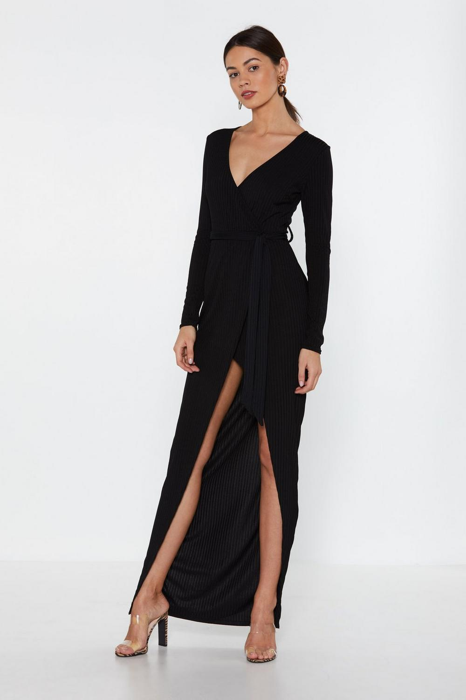 3259cc7196a Womens Black High Time Ribbed Maxi Dress