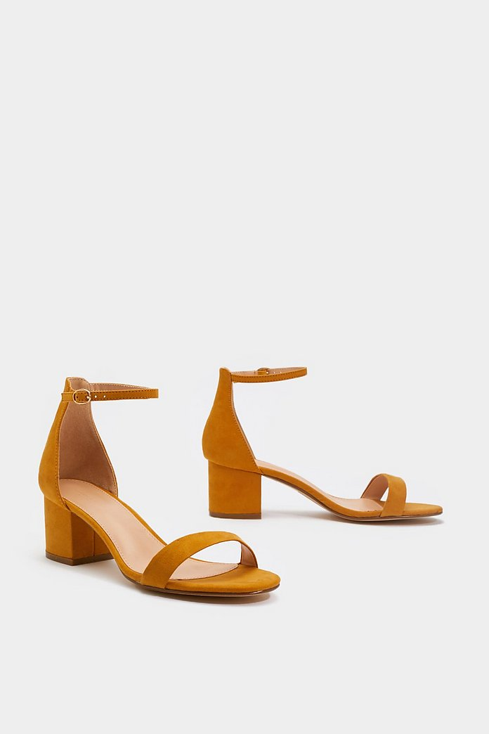 On the Low Down Heeled Faux Suede Sandals | Nasty Gal