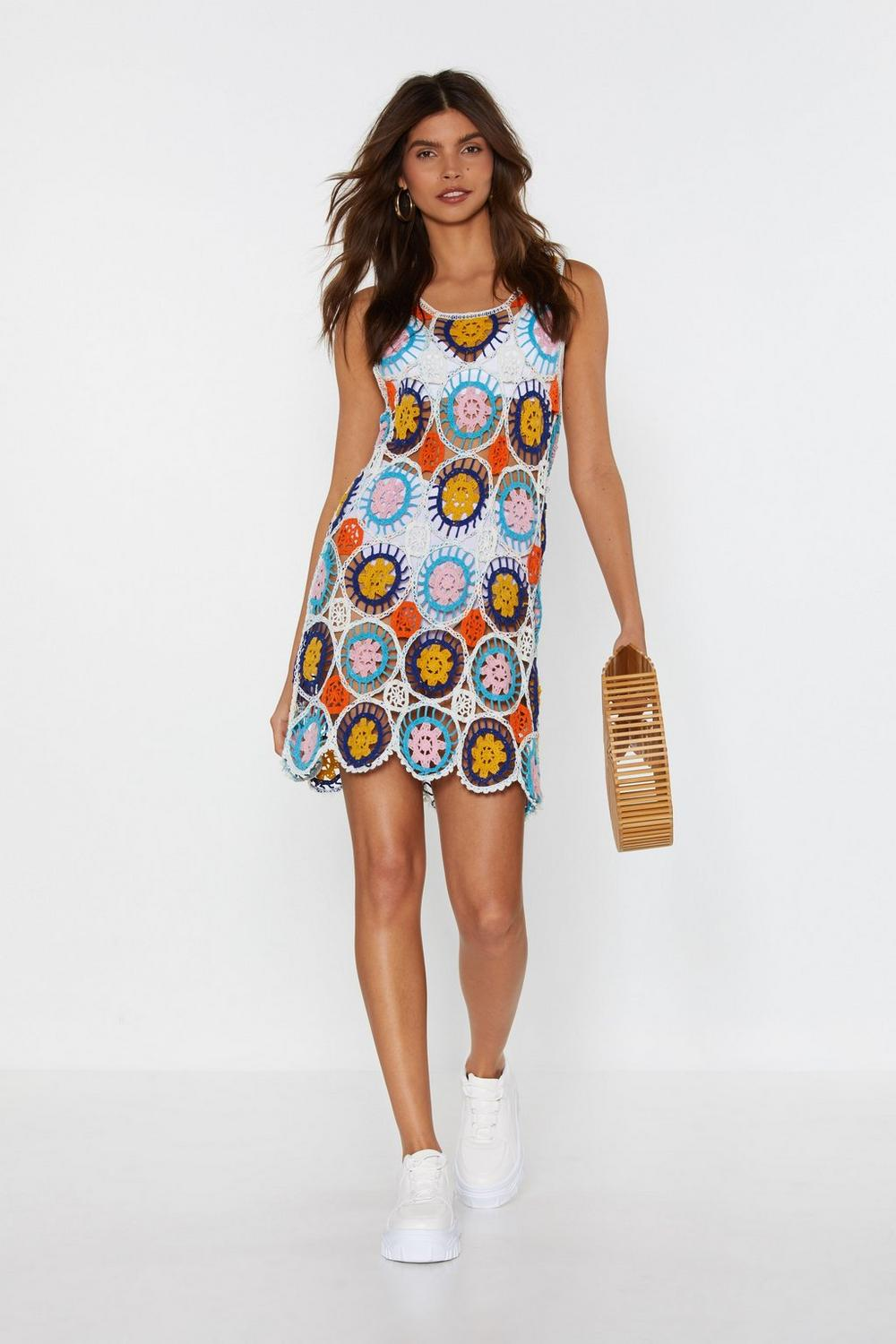Ill Get Bright On It Crochet Mini Dress Shop Clothes At Nasty Gal