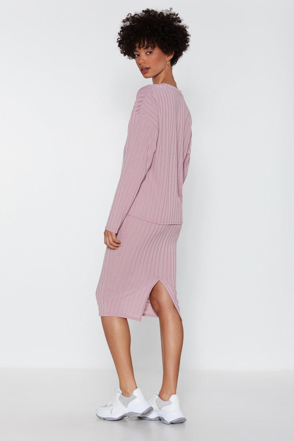b49f7e34df Womens Mauve You and I Ribbed Sweater and Skirt Set