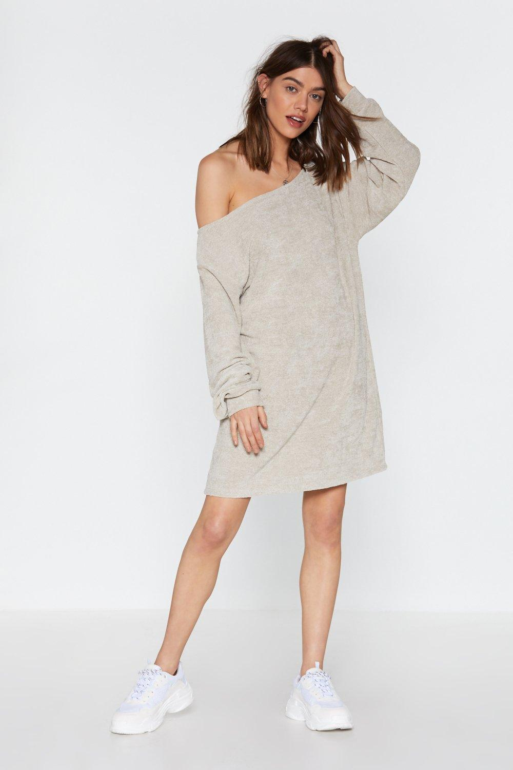 d6e93d28a64 Womens Stone Shrug  Em Off One Shoulder Sweater Dress