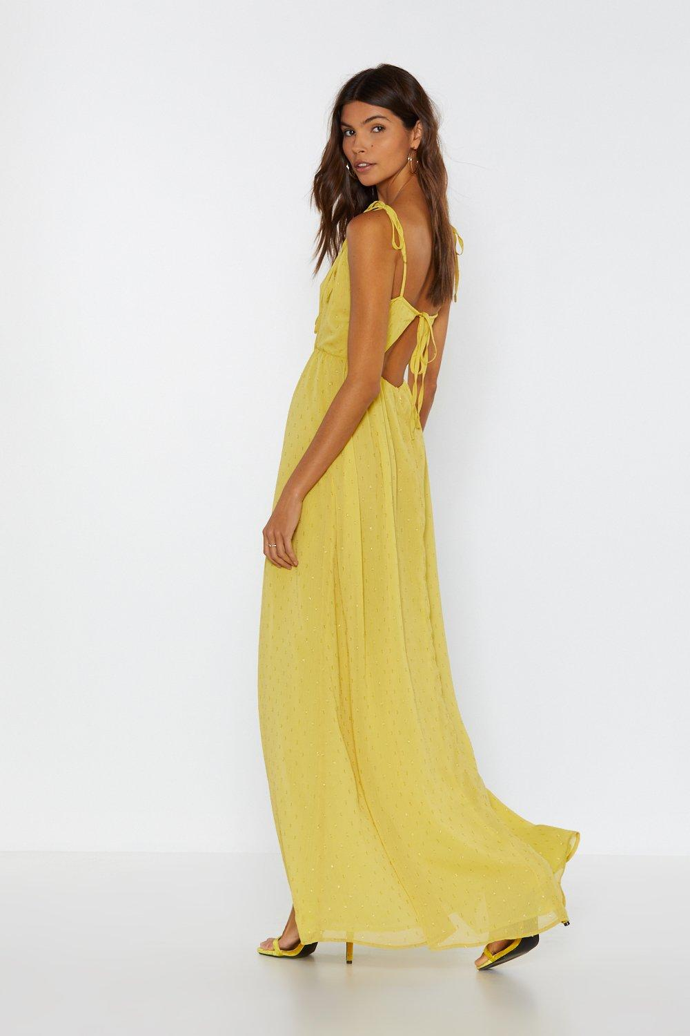 2c1aa52a32d Hover to zoom · Womens Gold Tie Flies Slit Maxi Dress