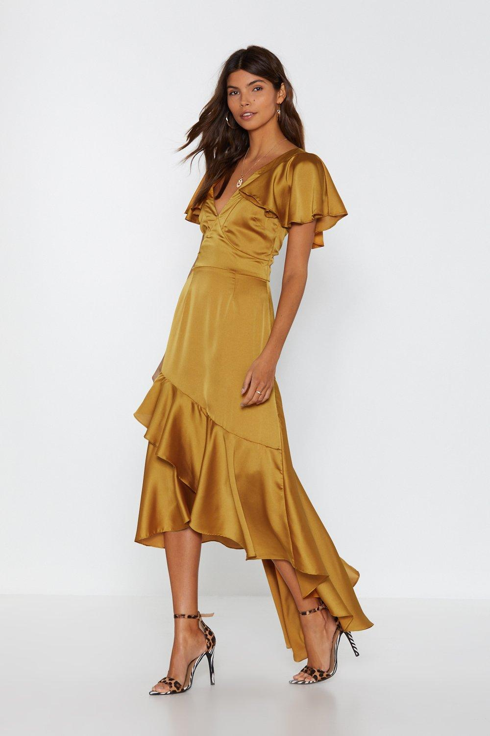 7840bfd7a82 Womens Gold Satin Ruffle Maxi Dress