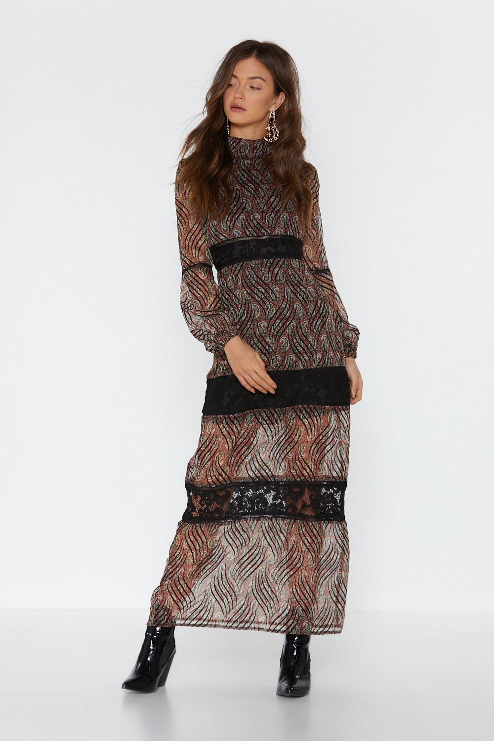 38c4d9ebba3 Womens Rust Paisley Your Dues Lace Maxi Dress