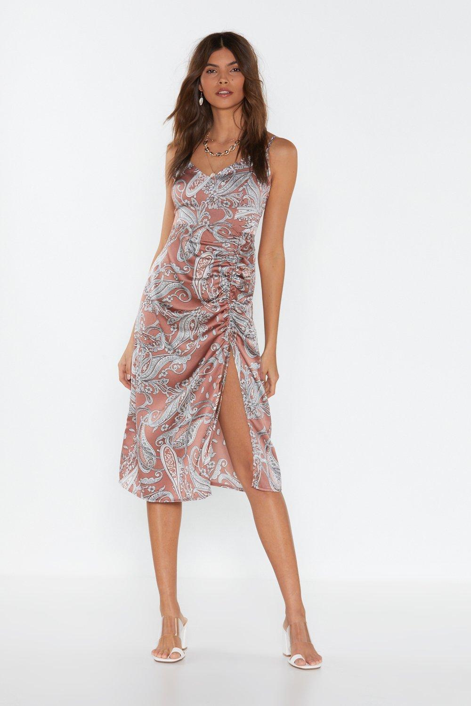d185f05f43 Ruched Paisley Scarf Print Midi Dress | Shop Clothes at Nasty Gal!