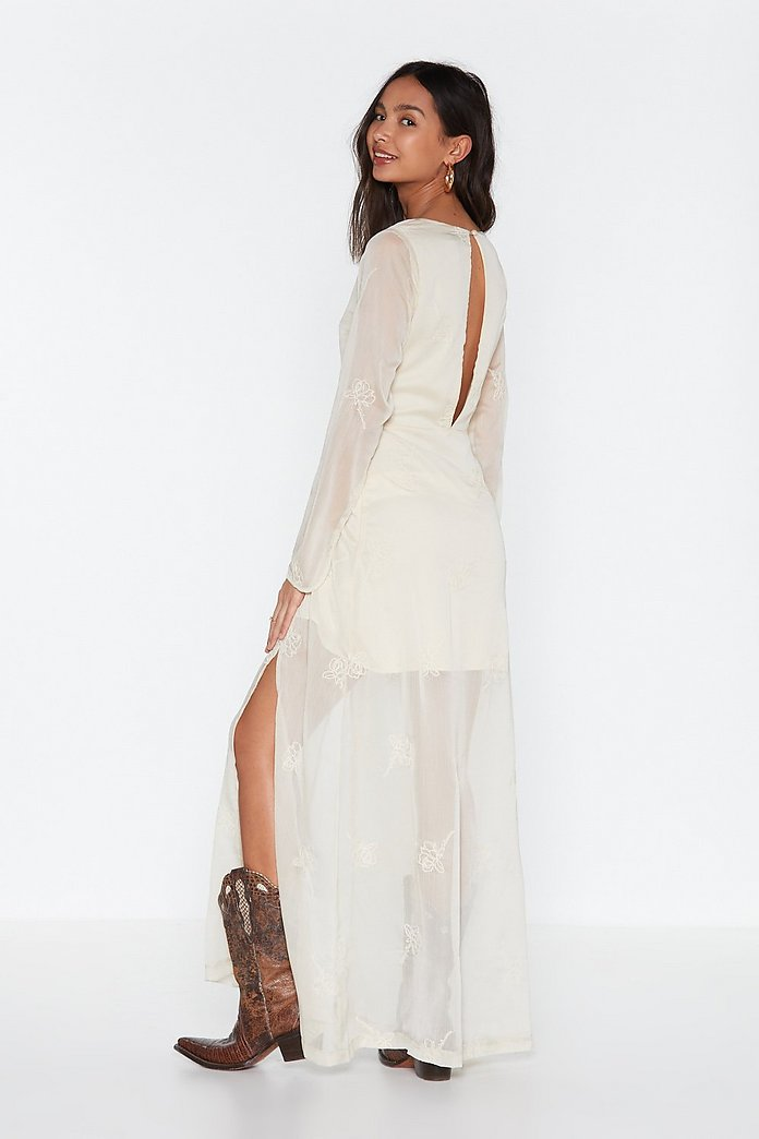 All On Embroidered Lace Up Maxi Dress Shop Clothes At Nasty Gal