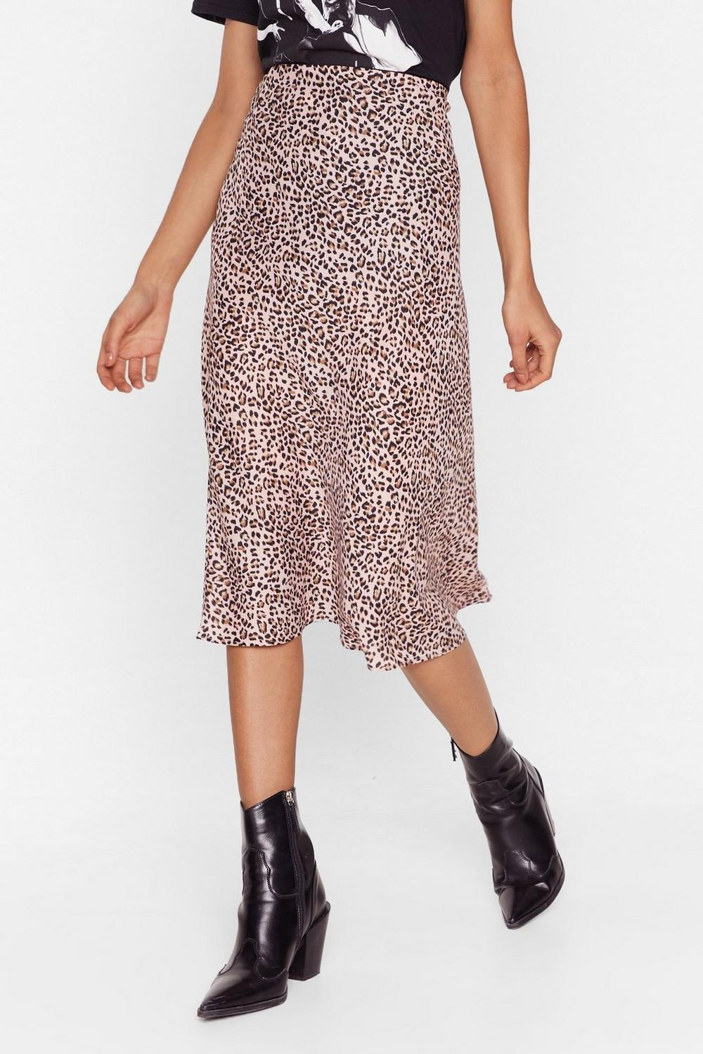 Leopard Satin Skirt