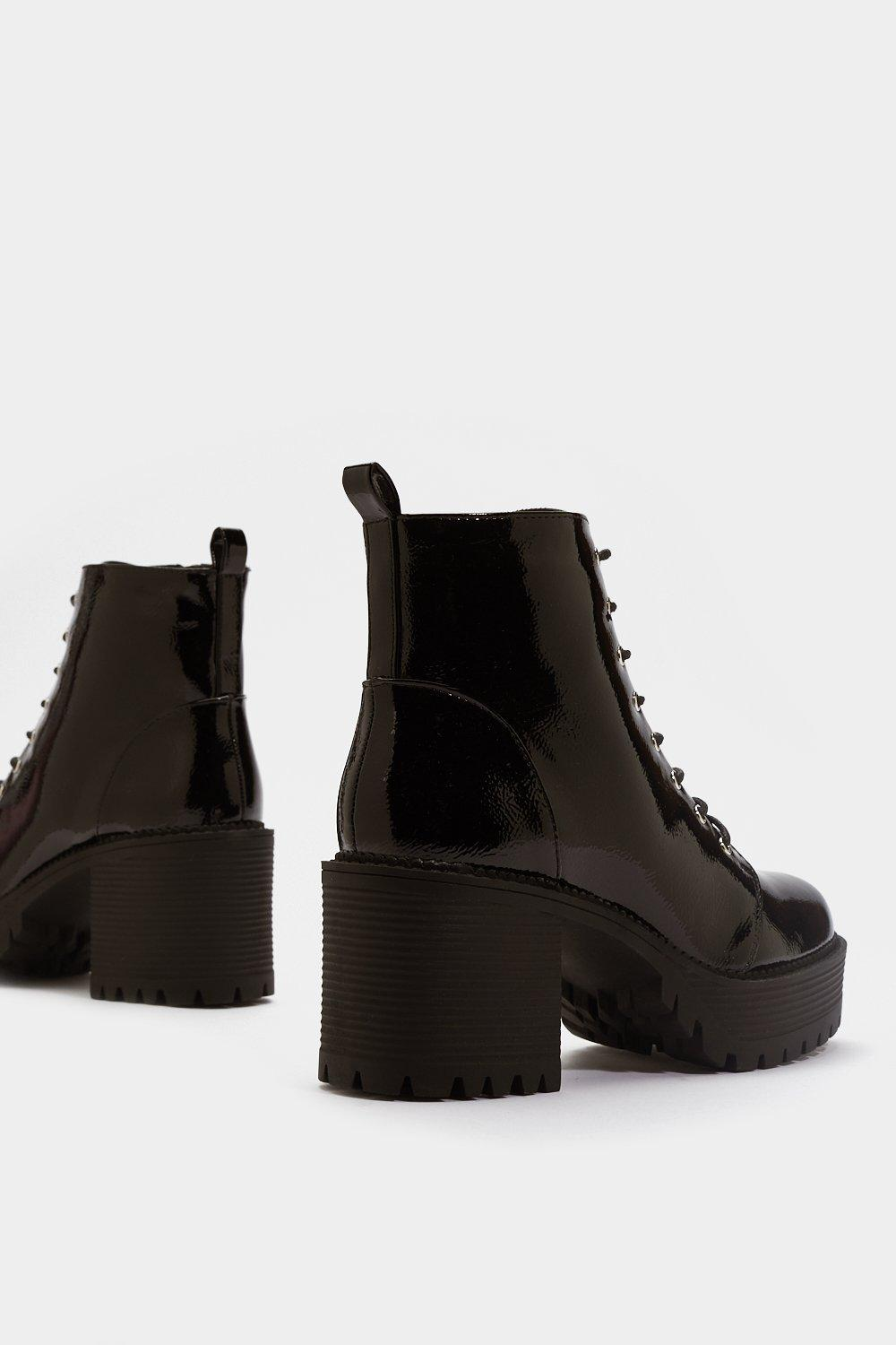 32edd9f9cdd Stand Firm Patent Chunky Boots   Shop Clothes at Nasty Gal!